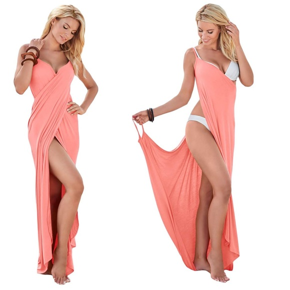 Pink Greek Goddess Cover Up Sarong Beach Dress 947c3ffb6